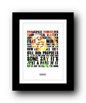 ❤ BOB MARLEY Redemption Song ❤ lyric poster typography art print - 5 sizes #2