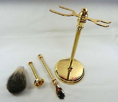 Gold Finish Deluxe Kits for Shaving Stand, Mach 3 Razor Handle, Nylon Brush