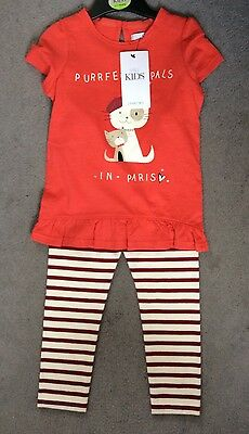 M&s 2 Piece Orange Dress With Cats & Cream/red Stripe Leggings Age 3-4Y - Bnwt