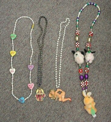 Lot of 4 Vintage Mardi Gras Beads * Harrah New Orleans 2 With Ladies & 1 Hearts