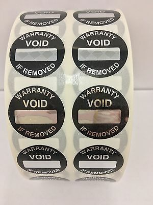 """100 Labels 1"""" Round WARRANTY VOID Box Space Security Tamper Proof Seal Stickers"""