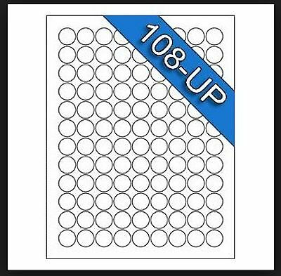 "100 Sheets White Laser Inkjet .75"" Round Circle Dot Inventory Labels 108-Up"