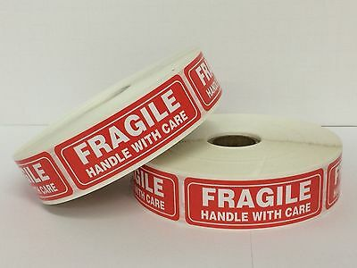 "FRAGILE Warning Handle With Care Mailing Shipping (1""x3"" 100/Roll)"