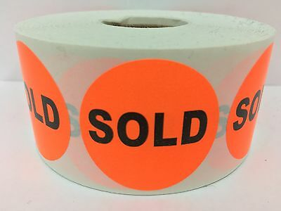 "1000 Labels 1.5"" Round Orange SOLD Retail Price Point Pricing Stickers"