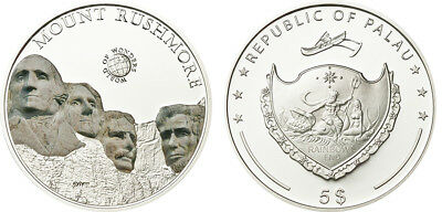 Palau $5, 25g Silver Coin, 2011, Mint, World Of Wonders, Mount Rushmore