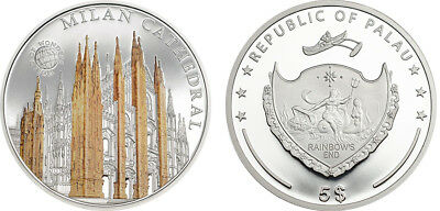 Palau $5, 20g Silver Coin, 2015, Mint, World Of Wonders, Milan Cathedral