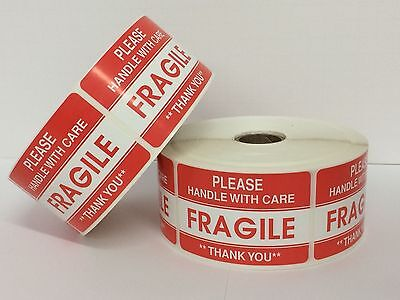 2 Rolls 1000 Labels each 2x3 Please FRAGILE Handle with Care Shipping Stickers