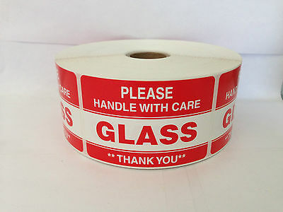 2 Rolls 1000 Labels each 2x3 Please GLASS Handle with Care Shipping Stickers