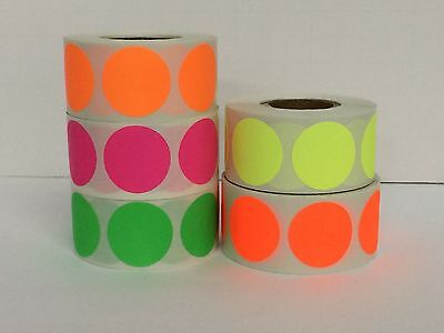 """5 Rolls 2"""" Round Color Coded Inventory Dot Sticker 500 Labels Each Color"""