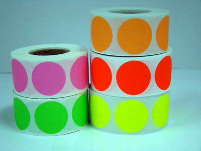 """5 Rolls Round 1"""" inch Color Coding Coded Inventory Dot 500 Labels Each Color"""