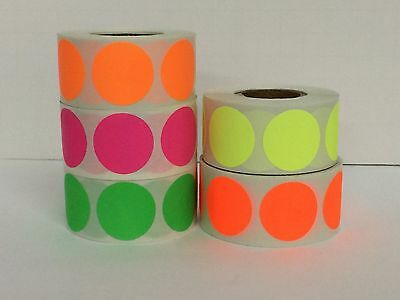 """5 Rolls Round 3"""" inch Color Coding Inventory Sticker Dots 500 Labels Each Color"""