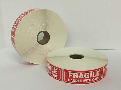 """FRAGILE Warning Handle With Care Mailing Shipping Labels (1""""x3"""" 300/Roll)"""