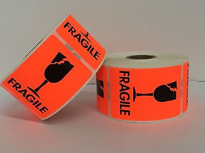 500 Labels 2x3 Bright Red Fragile CRACKED GLASS Shipping Mailing Stickers