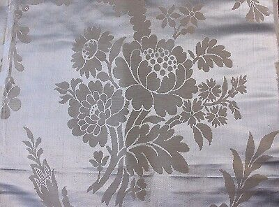 "Stunning Antique French Ice Blue Silk Victorian Fabric Panel c1880~1yd4""L X 30""W"