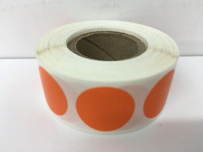 """500 Labels Round 2"""" Inch ORANGE Color Coding Coded Inventory Sticker Dot"""