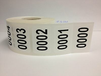 5000 Labels 1-1/4x7/8 Consecutive Numbered 0001-5000 Inventory Stickers / 1 ROLL