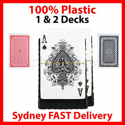 2 Pack Playing Cards Plastic Decks Card Games Deck Waterproof - Black & Red
