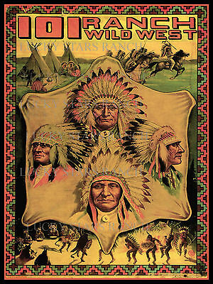 101 Wild West Cowboy Cowgirl Indian Vintage Rodeo Poster