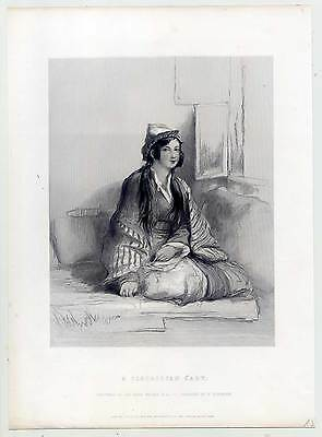 Tscherkessin-Tscherkessen-Circassian Lady - Stahlstich 1850