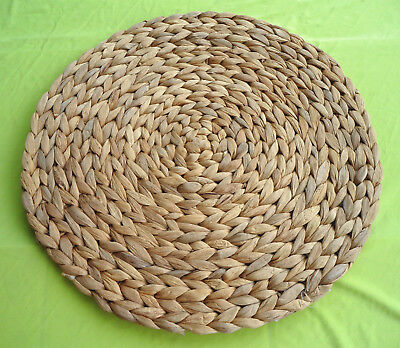 """37cm/14.6""""--Round Straw Weave Water Hyacinth Handmade Natural Placemat Place Mat"""