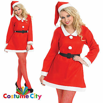 Adults Womens Christmas Santa Sweetie Festive Fancy Dress Party Costume