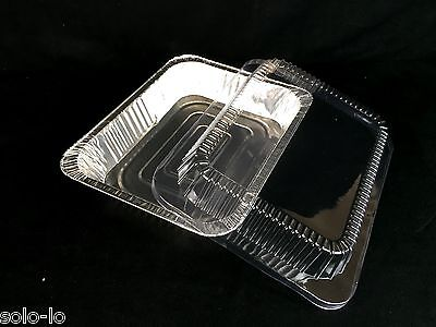 12 Foil 32 x 26cm Tray Roasting BBQ Baking Container With Clear PVC Lid New