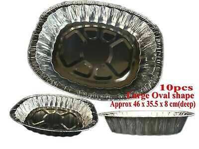 10 Foil 46 x 35.5 x 8 cm Tray Roasting BBQ Baking Container Oval Trays New