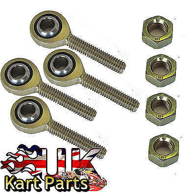 KART 2 Pairs of 8mm Male Nylon Lined Rod Ends & Nuts PREMIUM QUALITY L/H&R/H