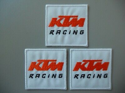 Patch Ktm Racing Bianco N.3 Ricamate Termoadesive Cm 5X5  -Cod.509