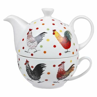 Alex Clark Fine China Rooster Chicken Tea for One Set