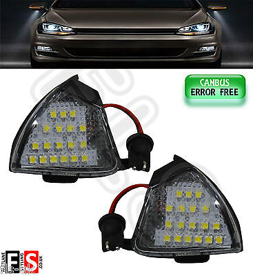 2 X Vw Car Under Mirror Lights White Led 18Smd Canbus Error Free Direct Fit