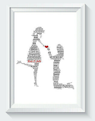 Personalised  Gay Engagement Mrs & Mrs Proposal Word Art Gift