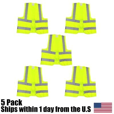 (5) Large Neon Green High Visibility Zipper Front Safety Vest Reflective
