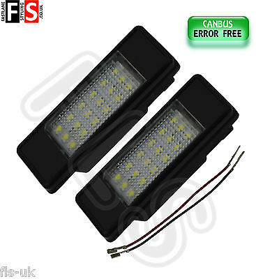 2 X Peugeot Car Number Plate Lights White Led 18Smd Canbus Error Free