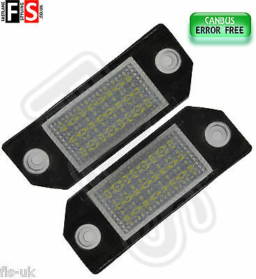 2 X Ford Focus Car Number Plate Lights White Led 18Smd Canbus Error Free