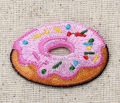 Pink Frosted Donut - Sprinkles Sweet/Treat - Iron on Applique/Embroidered Patch
