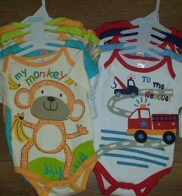 NEW Pack Of 5 Baby Boys Vests - My Monkey/To The Rescue - 0-9 Months
