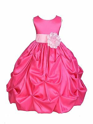 Taffeta Flower Girl Dress Wedding Bridesmaid Birthday Junior Formal Recital New