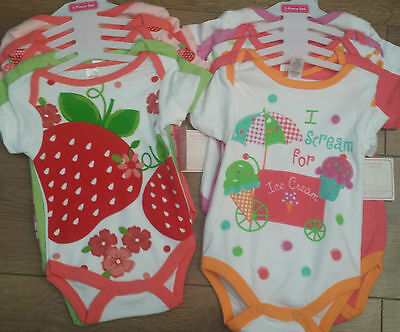 NEW Pack Of 5 Baby Girl's Vests - I Scream For Ice Cream/Strawberry - 0-9 Months