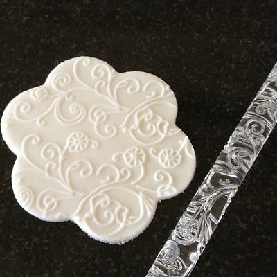 Textured Embossed Acrylic Rolling Pin Swirls & Flowers # 12 Icing CakeCraft