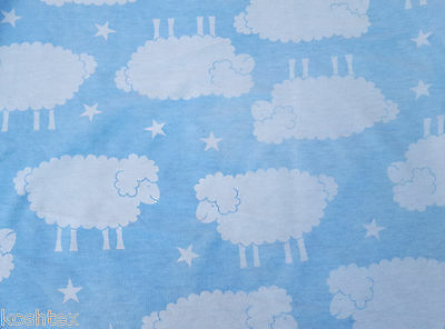 "Sheep & Star Print Cotton Fleece Fabric by the Yard Light Blue White 60""W 11/15"