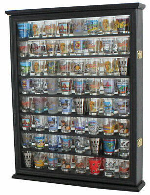 LARGE, 72 Shot Glass Display Case Shadow Box, Cabinet Mirror Back, SC13