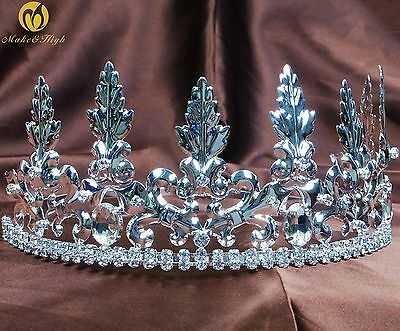 King Prince Tiaras Diadem Imperial Silver Crowns for Men Pageant Party Costumes