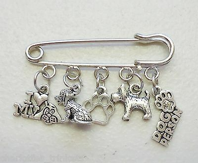 I Love My Dog Person paw Heart Brooch Kilt Pin