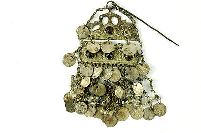 Costume Ottoman Coins Bulgarian Silver Folk Pin Head Hook Brooch Balkan Greek