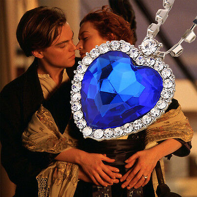 18K White Gold Plated Titanic Blue Crystal Pendant Necklace