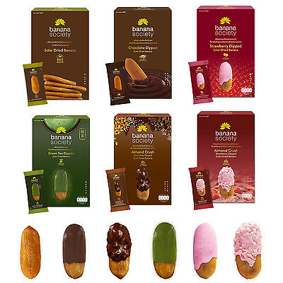 Solar Dried Banana with Chocolate, Green Tea, Strawberry, Almond Crush Dipped