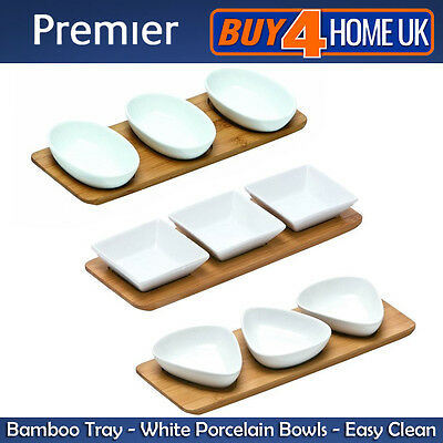Premier Housewares Set of 3 White Porcelain Snack Bowls on Bamboo Tray