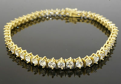 "9Carat Yellow Gold Simulated Diamond Tennis Bracelet 7.5"" 4mm Width"