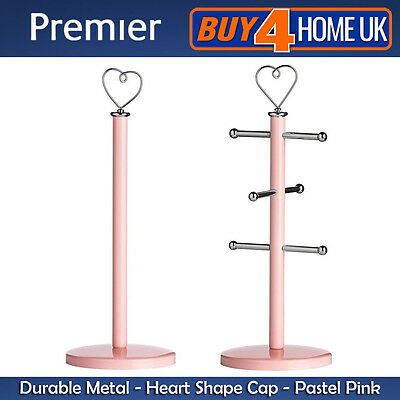 Premier Housewares Pastel Pink Sweet Heart Kitchen Towel Roll Holder Stand Metal